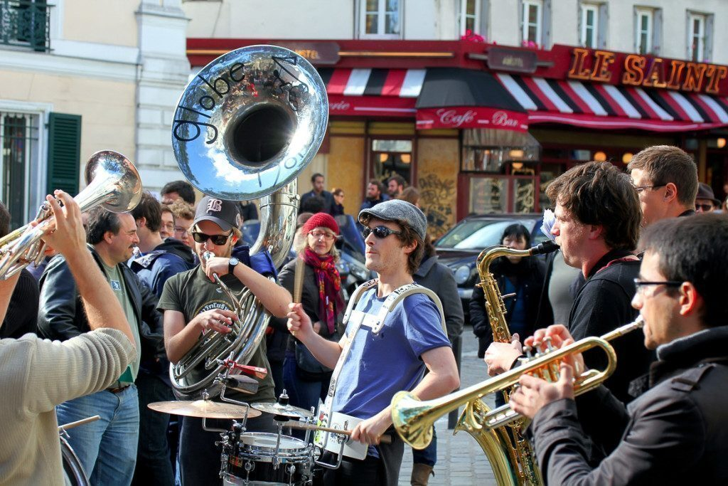 Pars, France - Oct. 13: Group Of Young Musicians As Seen On Mont