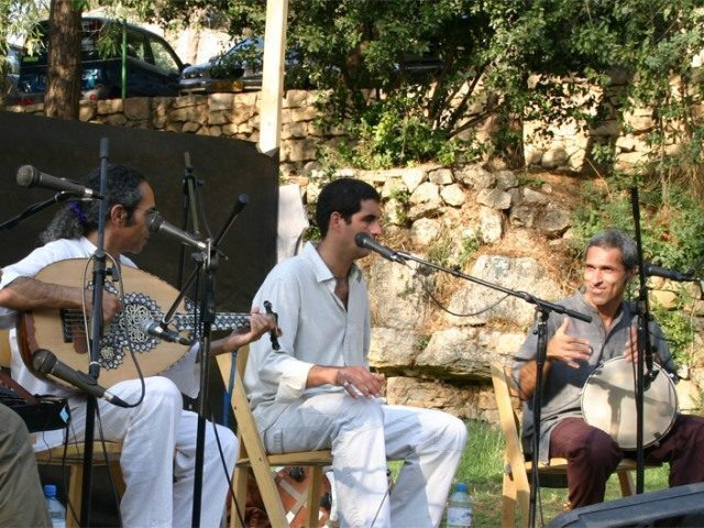 Yair Dalal (left) plays the oud in concert in Ein Hemed national park