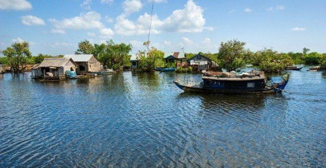 Cambogia: Siem Reap, arrivare in barca da Battambang